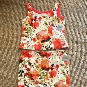 KASPER 2 Piece Floral Pencil Skirt Suit Set